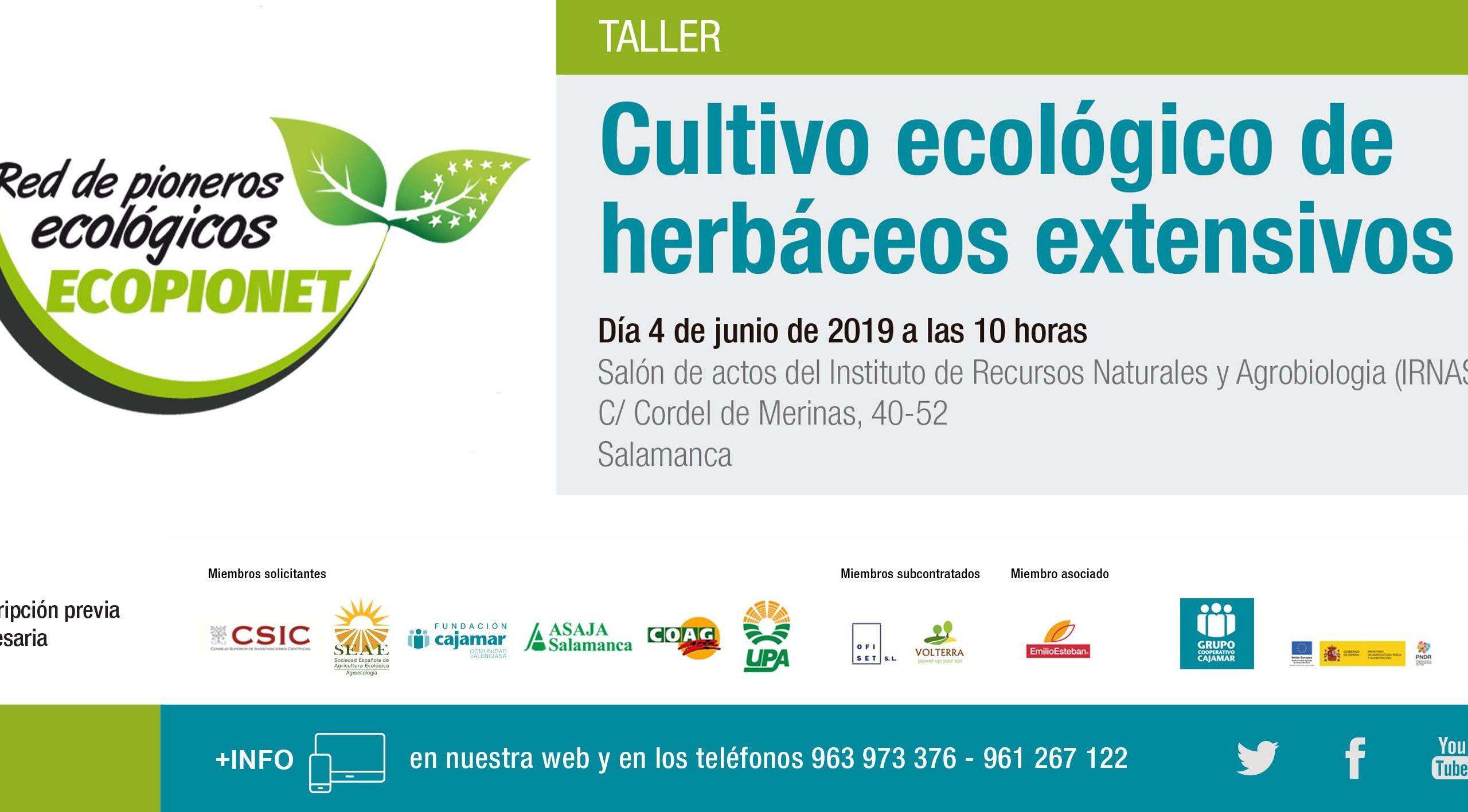 Taller Cultivo ecológico en herbáceos extensivos